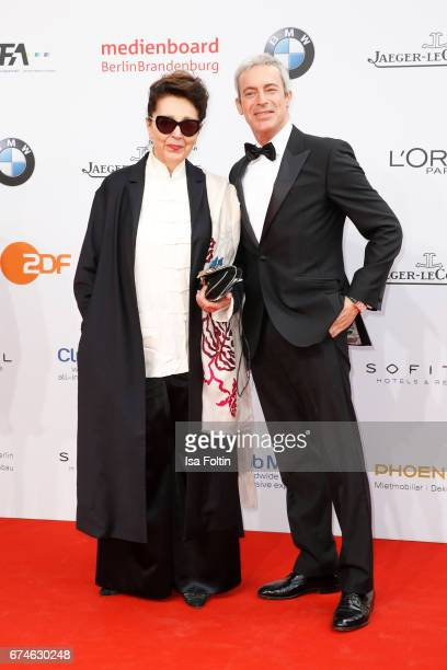 Actress Elisabeth von Molo and german actor Gedeon Burkhard during the Lola German Film Award red carpet arrivals at Messe Berlin on April 28 2017 in...