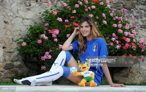 Actress Elisabetta Pellini poses during portrait session at Coverciano on May 21 2014 in Florence Italy