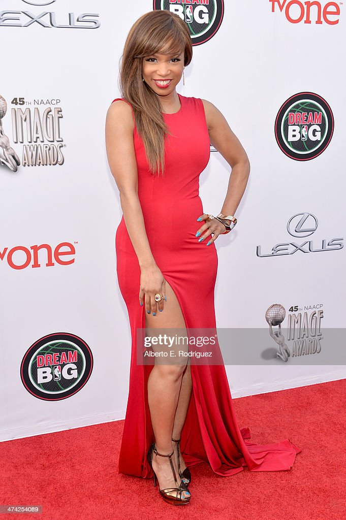 Actress Elise Neal attends the 45th NAACP Image Awards presented by TV One at Pasadena Civic Auditorium on February 22 2014 in Pasadena California