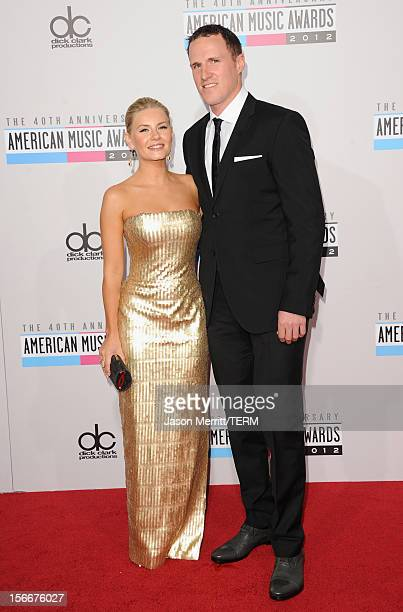 Actress Elisha Cuthbert and athlete Dion Phaneuf attend the 40th American Music Awards held at Nokia Theatre LA Live on November 18 2012 in Los...
