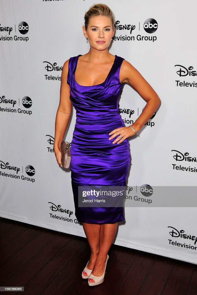 Actress Elisha Cuthbert arrives at Disney ABC Television's red carpet gala at the Langham Huntington Hotel and Spa on January 10, 2013 in Pasadena, California.