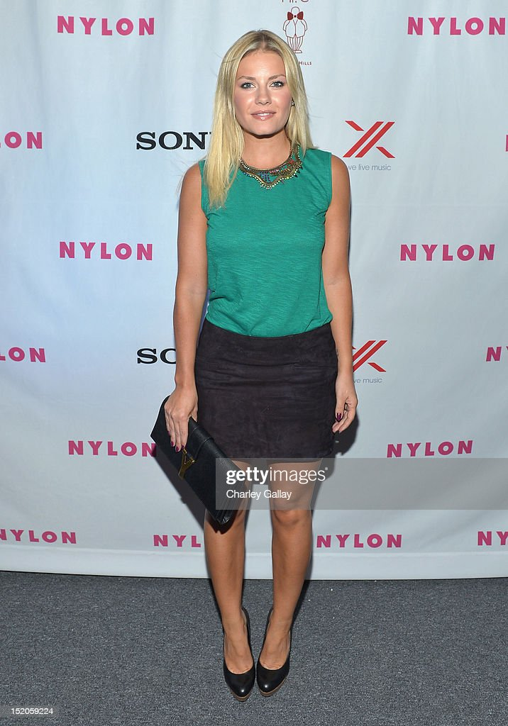 Actress Elisha Cuthbert attends the NYLON and And Sony X Headphones September TV issue launch event with cover star, Lea Michele at Mr. C Beverly Hills on September 15, 2012 in Beverly Hills, California.
