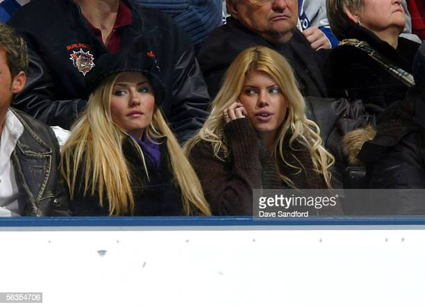 Actress Elisha Cuthbert watches the Los Angeles Kings against the Toronto Maple Leafs on December 6 2005 at the Air Canada Centre in Toronto Ontario...