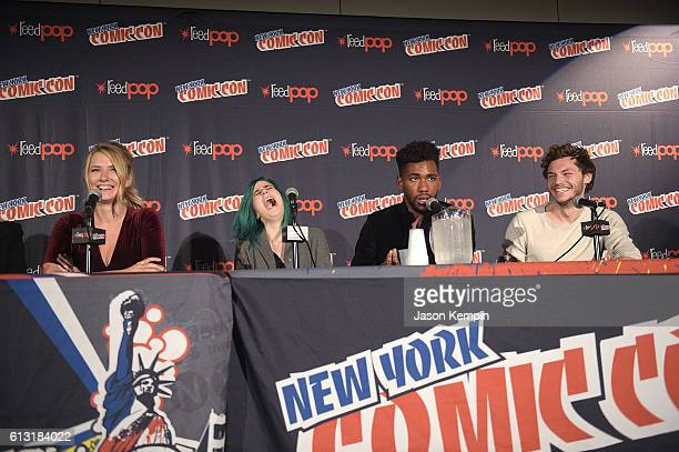Actress Eliza Bennett actress Taylor Dearden actor Brandon Mychal Smith and actor Nick Fink attend the Sweet/Vicious press junket at New York Comic...