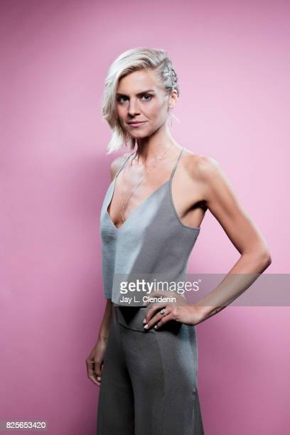 Actress Eliza Coupe from the television series 'Future Man' is photographed in the LA Times photo studio at ComicCon 2017 in San Diego CA on July 22...