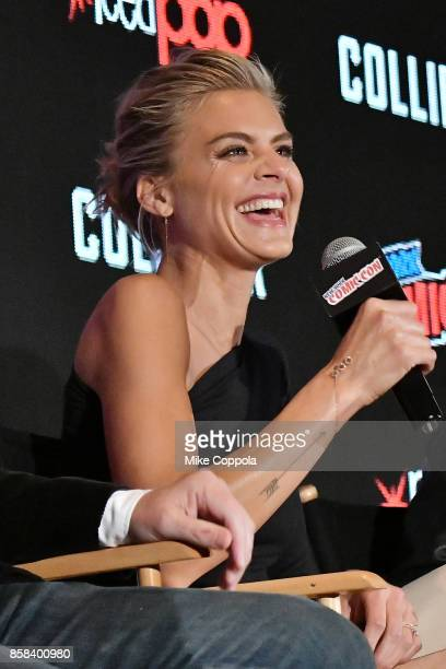 Actress Eliza Coupe participates in Hulu's Future Man panel at New York Comic Con at Jacob Javits Center on October 6 2017 in New York City