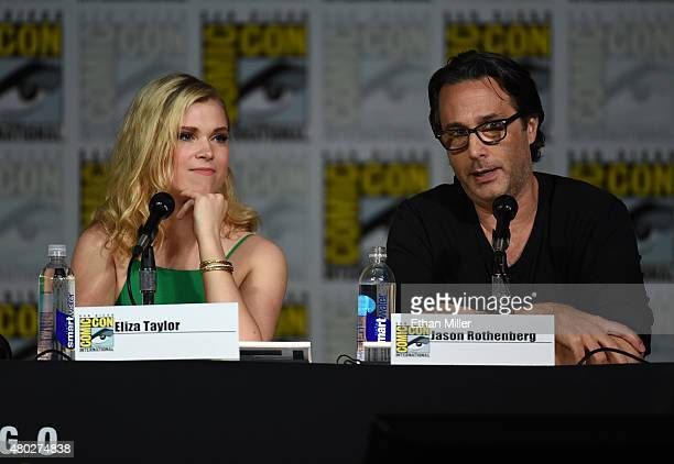 Actress Eliza Taylor and producer Jason Rothenberg attend a special video presentation and panel for 'The 100' during ComicCon International 2015 at...