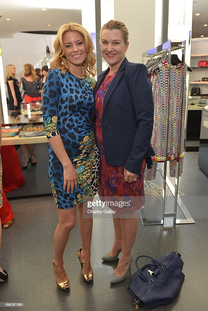 Actress Elizabeth Banks (L) and West Coast Editor of Vanity Fair Krista Smith attend Versace, Vanity Fair, And Elizabeth Banks Luncheon Benefitting Vital Voices Global Partnership at Versace on May 22, 2013 in Beverly Hills, California.
