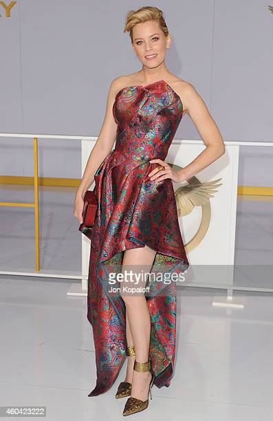 Actress Elizabeth Banks arrives at the Los Angele Premiere 'The Hunger Games Mockingjay Part 1' at Nokia Theatre LA Live on November 17 2014 in Los...