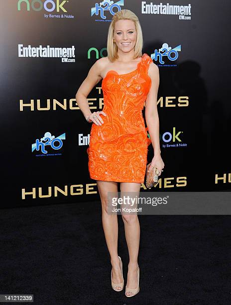 Actress Elizabeth Banks arrives at the Los Angeles Premiere 'The Hunger Games' at Nokia Theatre LA Live on March 12 2012 in Los Angeles California