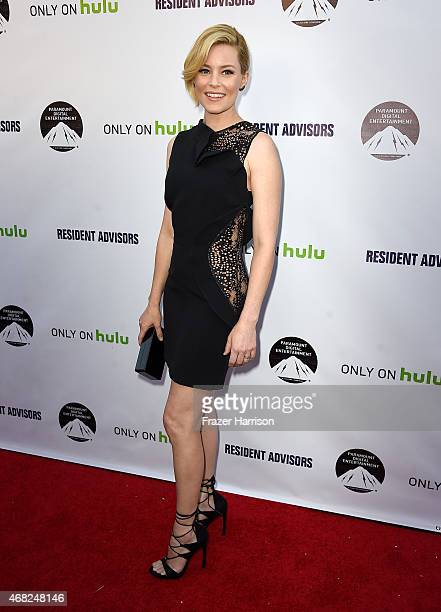 Actress Elizabeth Banks arrives at the Premiere Of Paramount and Hulu's 'Resident Advisors' at Sherry Lansing Theatre at Paramount Studios on March...