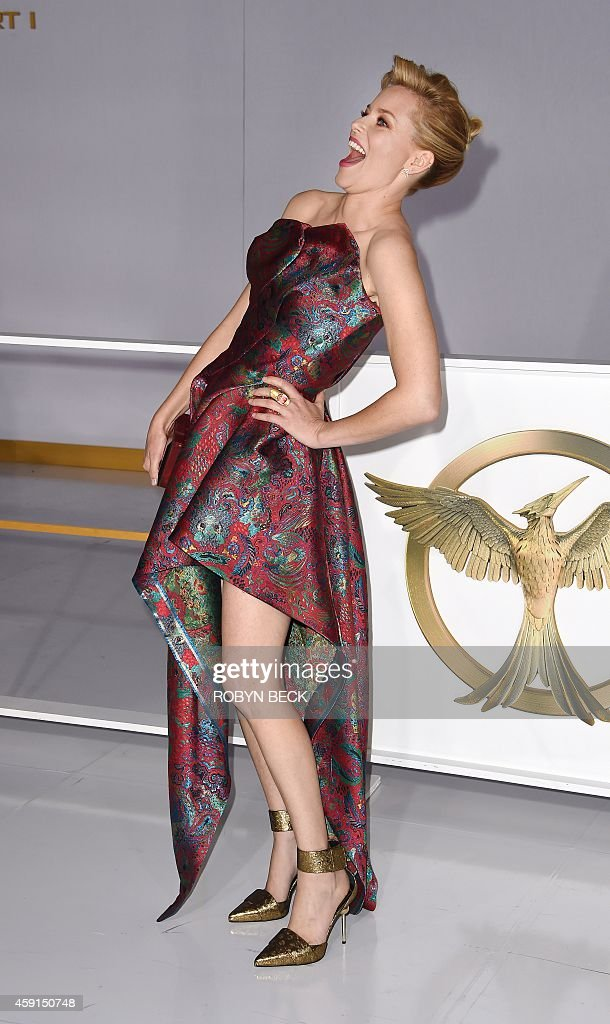 Actress Elizabeth Banks arrives for the Los Angeles premiere of 'The Hunger Games: Mockingjay - Part 1,' November 17 2014 at Nokia Theatre LA Live in Los Angeles, California.