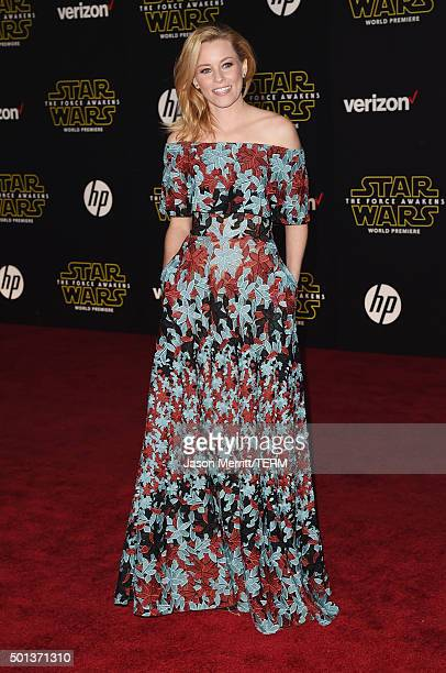 Actress Elizabeth Banks attends Premiere of Walt Disney Pictures and Lucasfilm's 'Star Wars The Force Awakens' on December 14 2015 in Hollywood...