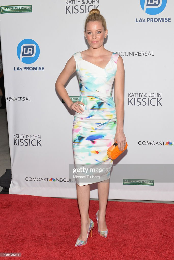 Actress Elizabeth Banks attends the 2014 LA's Promise Gala honoring exemplary advocates of education at The Globe Theatre at Universal Studios on...