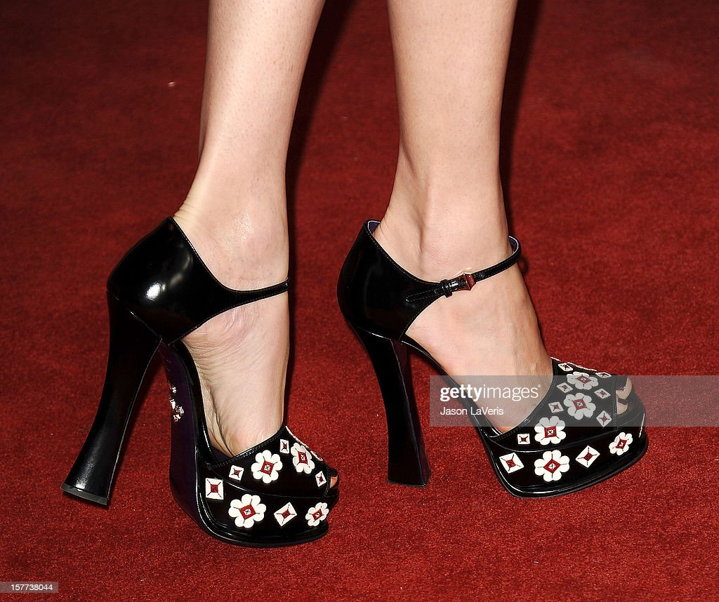 Actress Elizabeth Banks (shoe detail) attends the Hollywood Reporter's 21st annual Women In Entertainment breakfast at The Beverly Hills Hotel on December 5, 2012 in Beverly Hills, California.
