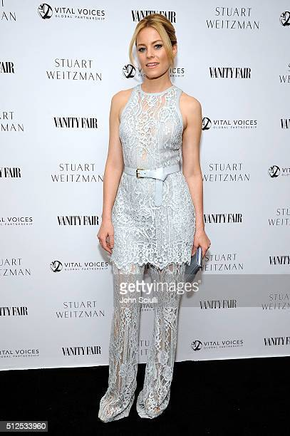 Actress Elizabeth Banks attends the Vanity Fair and Stuart Weitzman Luncheon to celebrate Elizabeth Banks at AOC on February 26 2016 in Los Angeles...