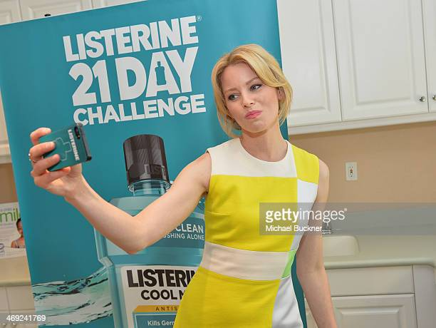 Actress Elizabeth Banks poses for a Swish Selfie and joins the LISTERINEAE 21 Day Challenge to empower people to improve their oral health at the...