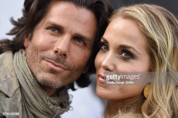 Actress Elizabeth Berkley and husband Greg Lauren arrive at the Premiere Of Warner Bros Pictures' 'San Andreas' at TCL Chinese Theatre on May 26 2015...