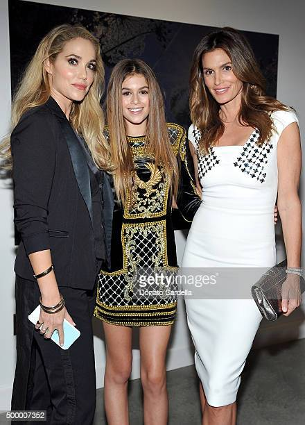 Actress Elizabeth Berkley model Kaia Jordan Gerber and Cindy Crawford attend a book party in honor of 'Becoming' by Cindy Crawford hosted by Bill...