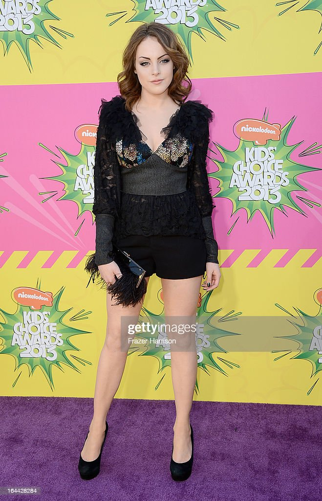 Actress Elizabeth Gillies arrives at Nickelodeon's 26th Annual Kids' Choice Awards at USC Galen Center on March 23, 2013 in Los Angeles, California.