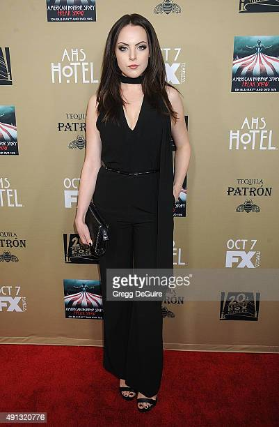 Actress Elizabeth Gillies arrives at the premiere screening of FX's 'American Horror Story Hotel' at Regal Cinemas LA Live on October 3 2015 in Los...