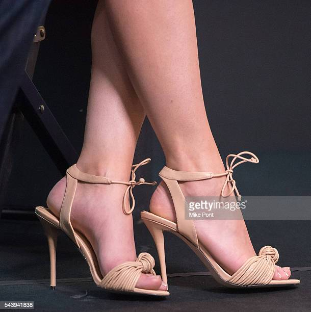 Actress Elizabeth Gillies shoe detail attends the AOL Build Series to discuss the FX show 'SexDrugsRockRoll' at AOL Studios In New York on June 30...