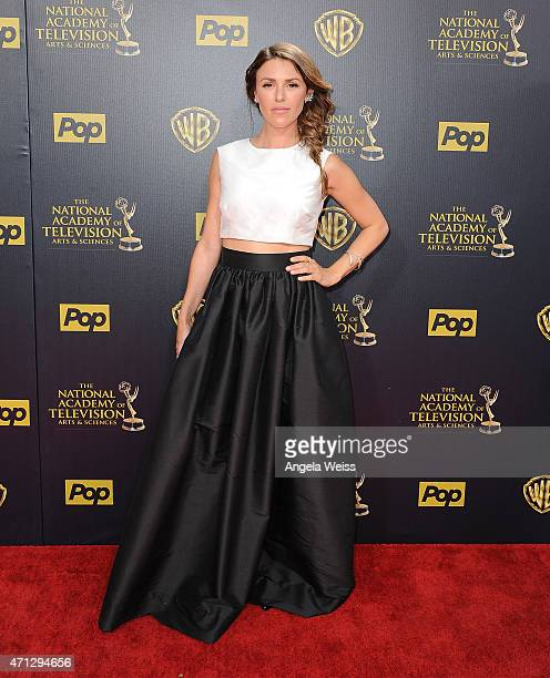 Actress Elizabeth Hendrickson arrives at the 42nd Annual Daytime Emmy Awards at Warner Bros Studios on April 26 2015 in Burbank California