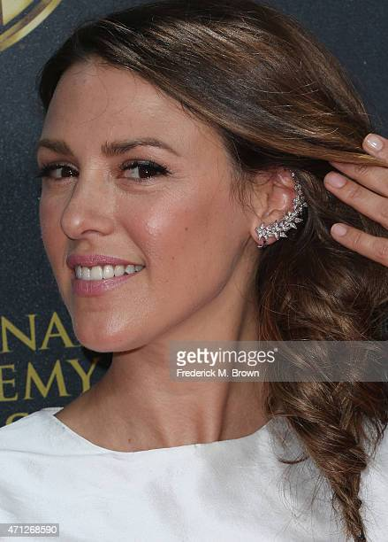 Actress Elizabeth Hendrickson jewelry detail attends The 42nd Annual Daytime Emmy Awards at Warner Bros Studios on April 26 2015 in Burbank California