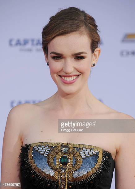 Actress Elizabeth Henstridge arrives at the Los Angeles premiere of 'Captain America The Winter Soldier' at the El Capitan Theatre on March 13 2014...