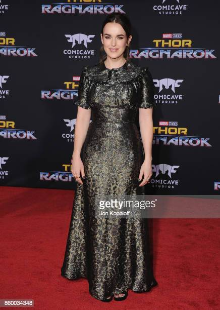 Actress Elizabeth Henstridge arrives at the Los Angeles Premiere 'Thor Ragnarok' on October 10 2017 in Hollywood California