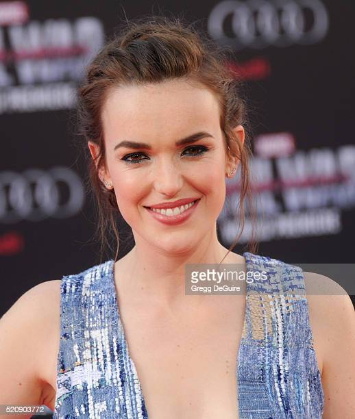 Actress Elizabeth Henstridge arrives at the premiere of Marvel's 'Captain America Civil War' on April 12 2016 in Hollywood California
