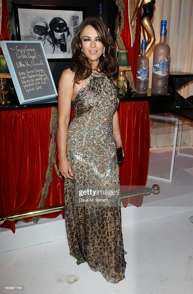 Actress Elizabeth Hurley arrives at the Grey Goose Winter Ball at Battersea Power Station on November 10, 2012 in London, England.