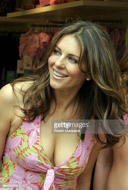 Actress Elizabeth Hurley attends the opening of her first store in Spain 'Elizabeth Hurley Beach' at La Rocca Village Outlet on May 4 2010 in...