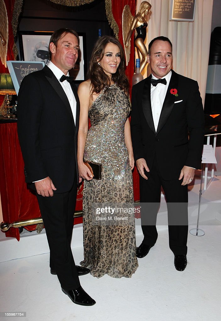 Actress Elizabeth Hurley (C), David Furnish (R) and ex-cricketer Shane Warne arrive at the Grey Goose Winter Ball at Battersea Power Station on November 10, 2012 in London, England.