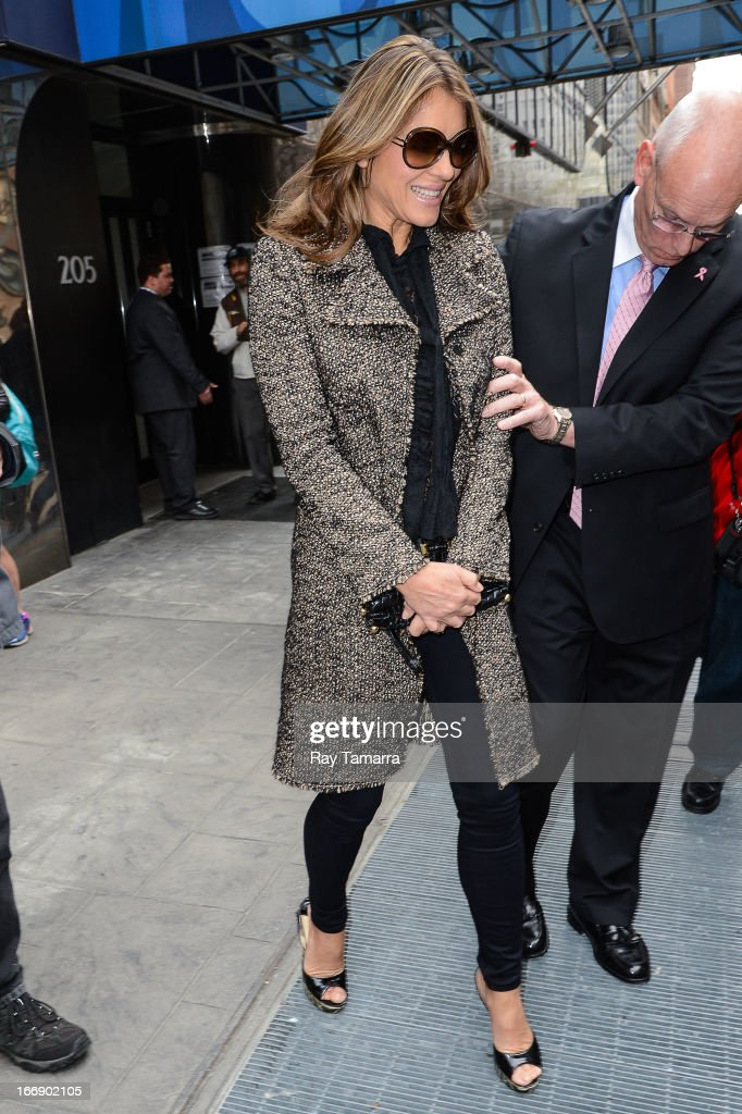Actress Elizabeth Hurley leaves the 'Good Day New York' taping at the Fox 5 Studios on April 18, 2013 in New York City.