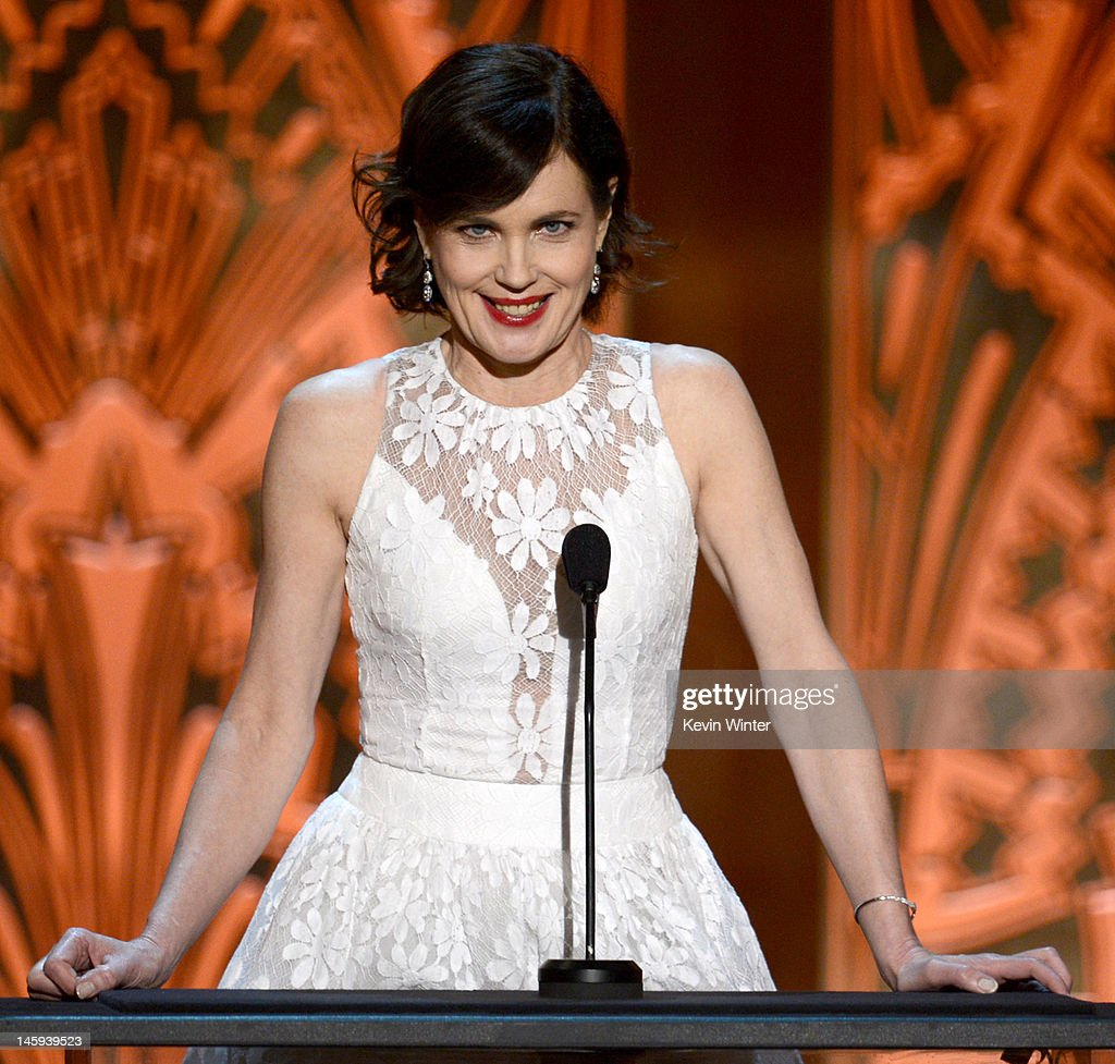 Actress <a gi-track='captionPersonalityLinkClicked' href=/galleries/search?phrase=Elizabeth+McGovern&family=editorial&specificpeople=734460 ng-click='$event.stopPropagation()'>Elizabeth McGovern</a> speaks onstage at the 40th AFI Life Achievement Award honoring Shirley MacLaine held at Sony Pictures Studios on June 7, 2012 in Culver City, California. The AFI Life Achievement Award tribute to Shirley MacLaine will premiere on TV Land on Saturday, June 24 at 9PM