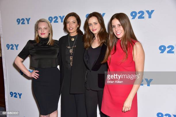 Actress Elizabeth Moss director Reed Morano actress Alexis Bledel and moderator Tatitana Siegel attend the presentation of Hulu's 'The Handmaid's...