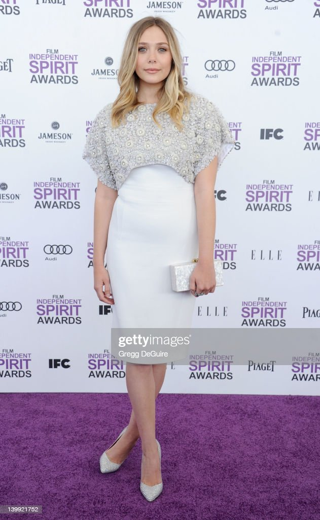 Actress Elizabeth Olsen arrives at the 2012 Film Independent Spirit Awards at Santa Monica Pier on February 25, 2012 in Santa Monica, California.