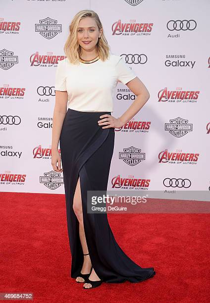 Actress Elizabeth Olsen arrives at the Los Angeles premiere of Marvel's 'Avengers Age Of Ultron' at Dolby Theatre on April 13 2015 in Hollywood...