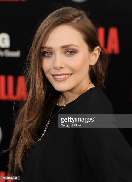 Actress Elizabeth Olsen arrives at the Los Angeles premiere of 'Godzilla' at Dolby Theatre on May 8 2014 in Hollywood California