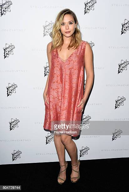 Actress Elizabeth Olsen attends Stella McCartney Autumn 2016 Presentation at Amoeba Music on January 12 2016 in Los Angeles California