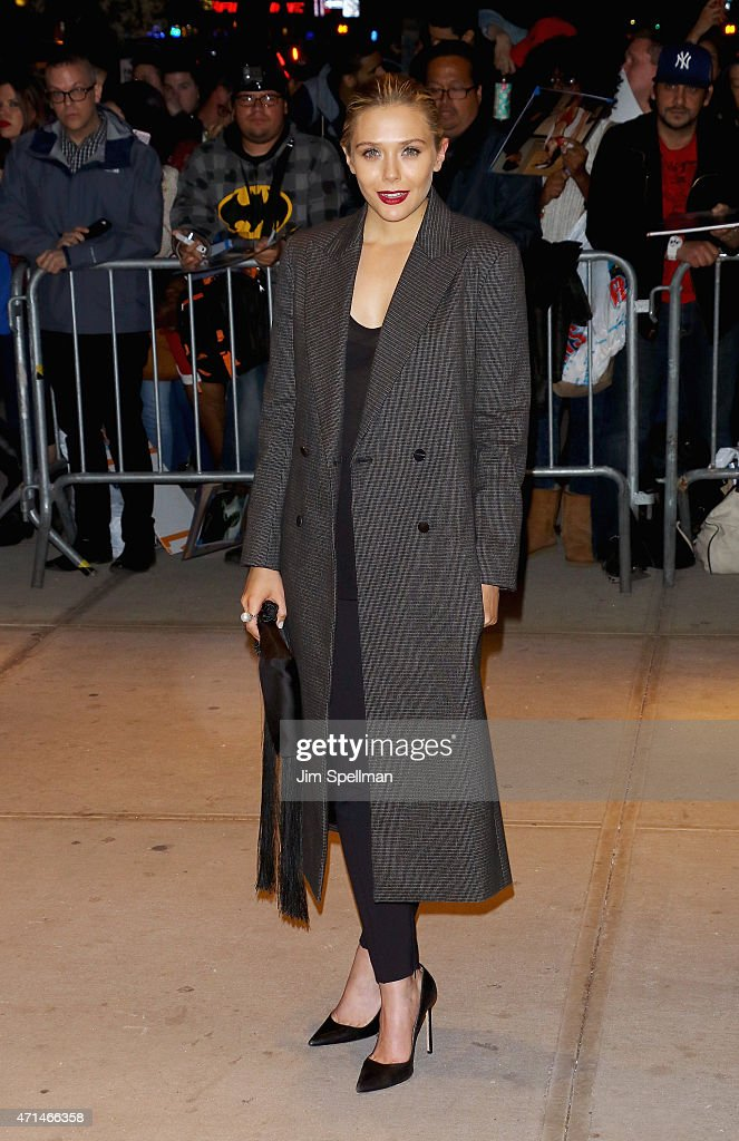 Actress Elizabeth Olsen attends The Cinema Society Audi host a screening of Marvel's 'Avengers Age of Ultron' at the SVA Theater on April 28 2015 in...