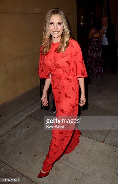 Actress Elizabeth Olsen attends the premiere of Sony Pictures Classics' 'I Saw The Light' at the Egyptian Theatre on March 22 2016 in Hollywood...