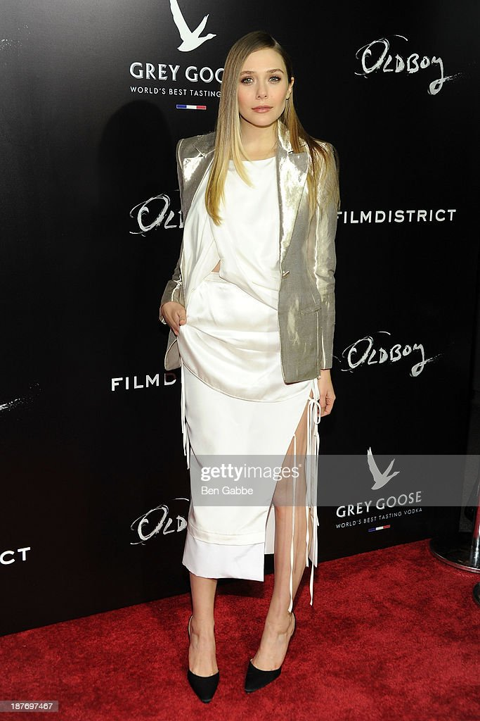 Actress <a gi-track='captionPersonalityLinkClicked' href=/galleries/search?phrase=Elizabeth+Olsen&family=editorial&specificpeople=5775031 ng-click='$event.stopPropagation()'>Elizabeth Olsen</a> attends the screening of 'Oldboy' hosted by FilmDistrict and Complex Media with the Cinema Society and Grey Goose at AMC Lincoln Square Theater on November 11, 2013 in New York City.