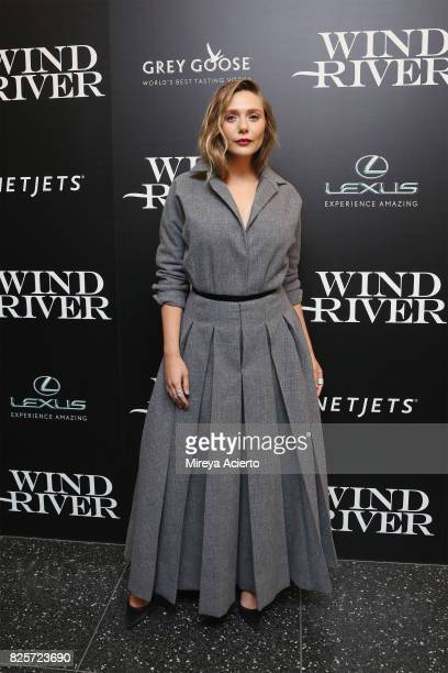 Actress Elizabeth Olsen attends The Weinstein Company with FIJI Grey Goose Lexus and NetJets screening of 'Wind River' at The Museum of Modern Art on...
