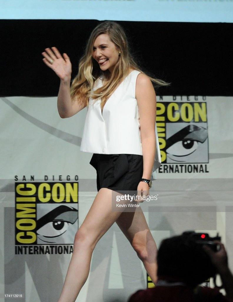 Actress Elizabeth Olsen speaks onstage at the Warner Bros. and Legendary Pictures preview of 'Godzilla' during Comic-Con International 2013 at San Diego Convention Center on July 20, 2013 in San Diego, California.
