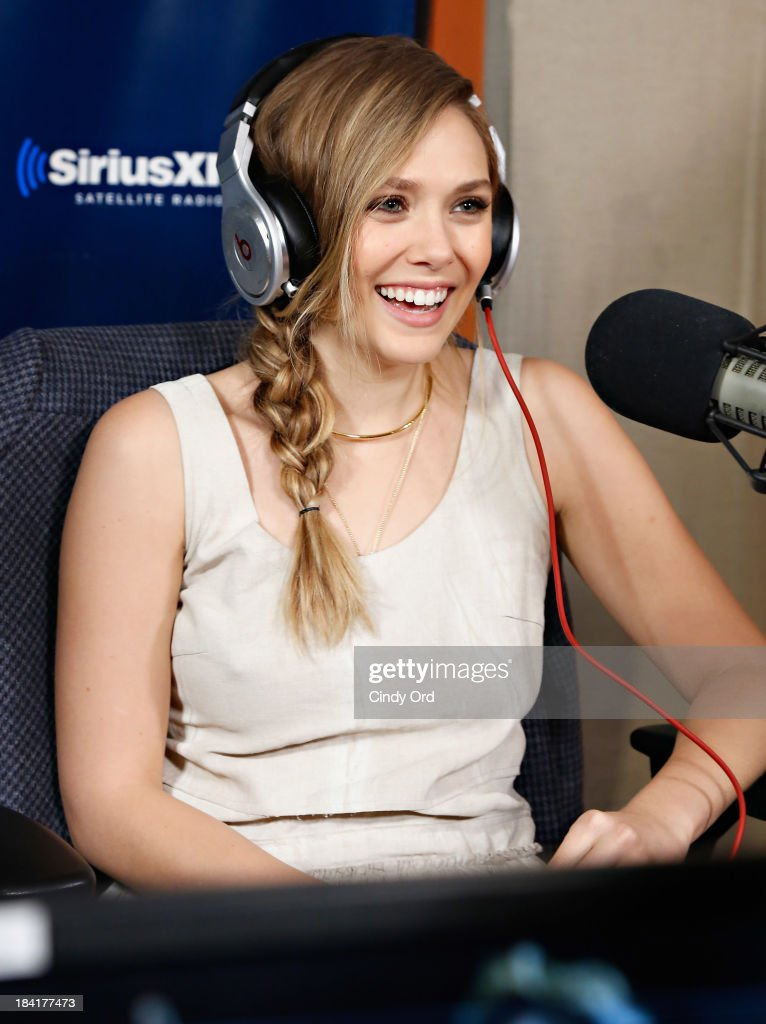 Actress <a gi-track='captionPersonalityLinkClicked' href=/galleries/search?phrase=Elizabeth+Olsen&family=editorial&specificpeople=5775031 ng-click='$event.stopPropagation()'>Elizabeth Olsen</a> visits 'Sway in the Morning' with Sway Calloway on Eminem's Shade 45 at the SiriusXM Studios on October 11, 2013 in New York City.