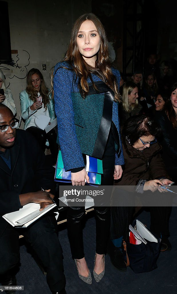 Actress Elizabeth Olson attends the Proenza Schouler fall 2013 fashion show during Mercedes-Benz Fashion Week on February 13, 2013 in New York City.