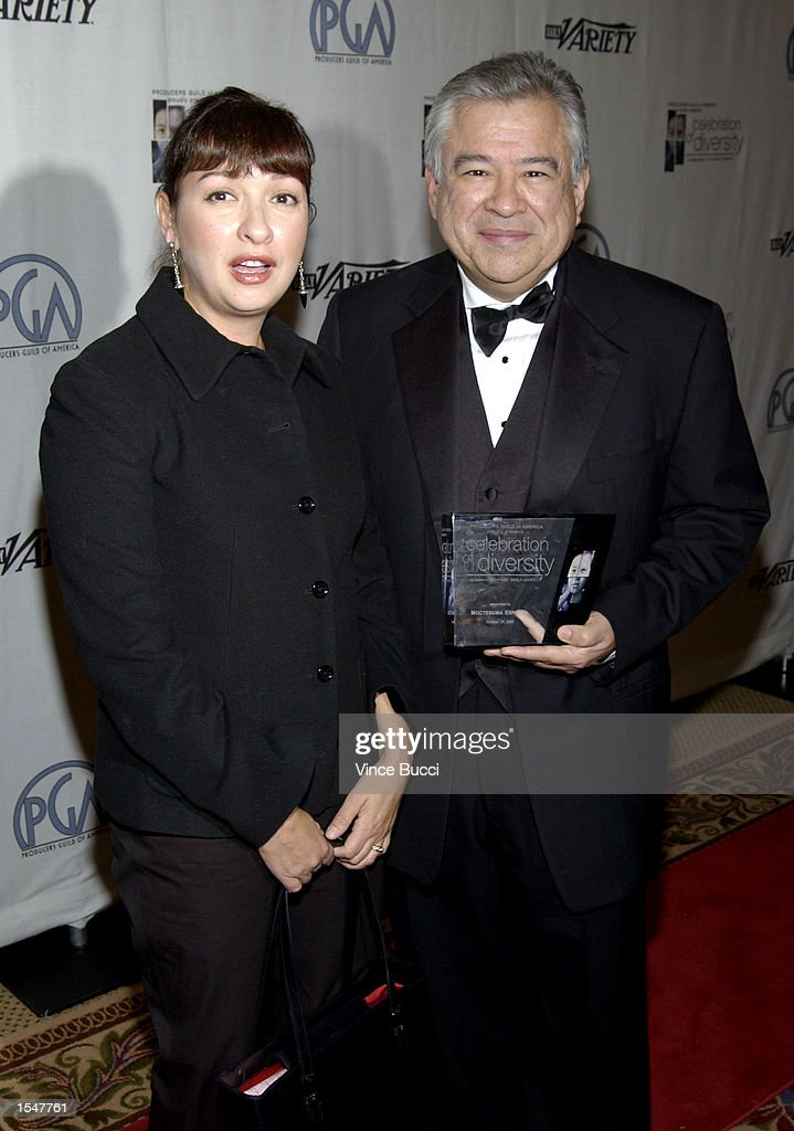 Actress Elizabeth Pena and producer Moctesuma Esparza attend the Producers Guild of America's inaugural Celebration of Diversity on October 28 2002...