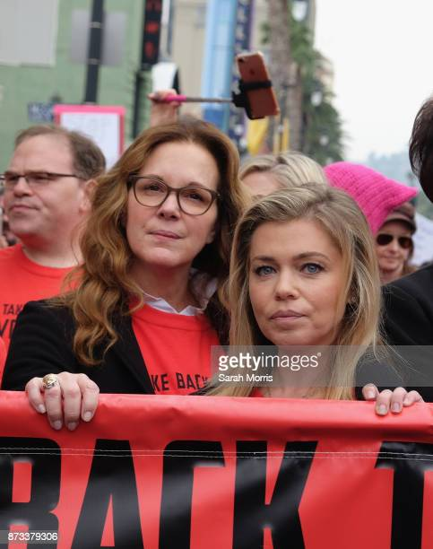 Actress Elizabeth Perkins and journalist Lauren Sivan participate in the Take Back The Workplace March and #MeToo Survivors March Rally on November...